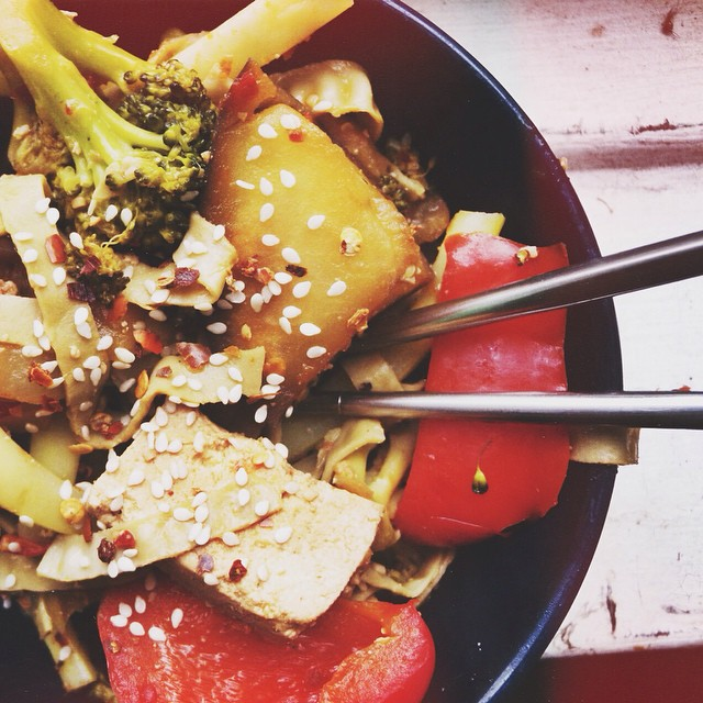 Mung bean noodles are SO good. As-spicy-as-I-can-handle tofu stirfry for strep.